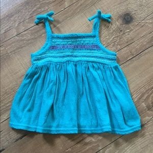 Turquoise embroidered tank top
